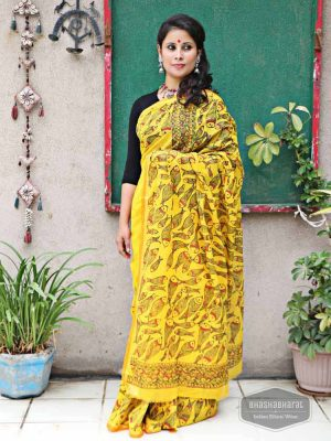 YELLOW HANDPAINTED MADHUBANI SAREE