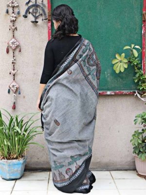 GREY HANDPAINTED MADHUBANI SAREE