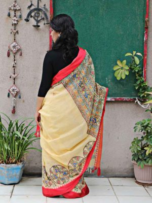 CREAM HANDPAINTED MADHUBANI SAREE