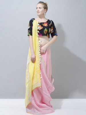 Cute baby Pink with lemon yellow linen saree