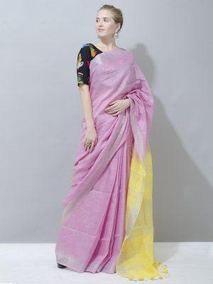 Cute Dark Pink with lemon yellow linen saree
