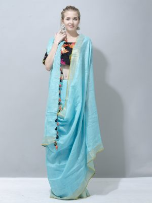 Oceanic Blue zari border linen saree