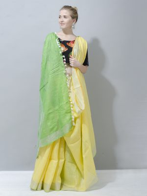 Adoring spring yellow with leafy green pallu linen Saree