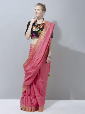Charming Rose Pink with golden zari pure linen saree