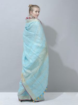 Turquoise blue with silver border linen saree