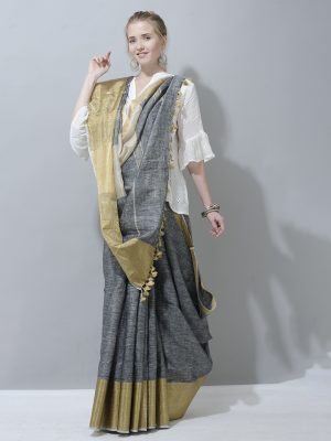 Grey and gold with broad border linen saree