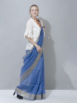 Azur blue with silver zari border linen saree