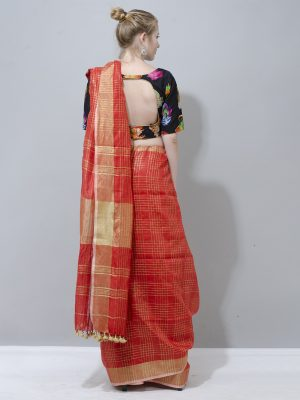Sunshine yellow and gold zari border check linen saree