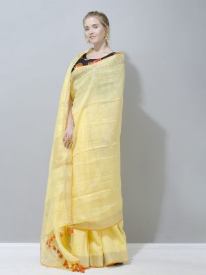 Pale yellow linen saree