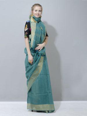 Elegant bottlegreen linen saree with golden border