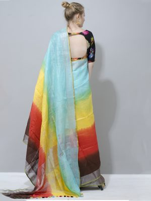 Beautiful multi colour linen saree with silver border