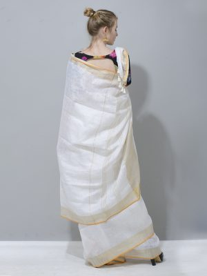 Fresh white colour linen saree