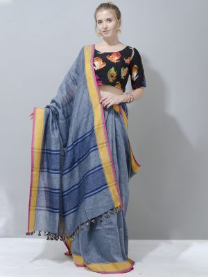 Sophisticated GREY with yellow border linen saree