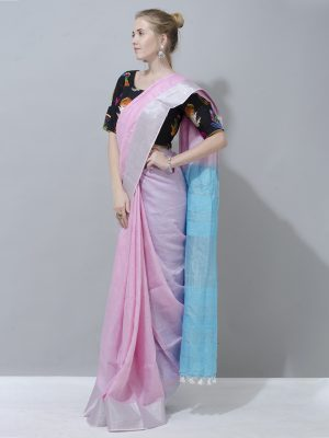 Pastel Blue And Pastel Pink linen saree