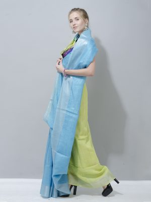 Amazing combination of pastel blue and green linen saree with silver border