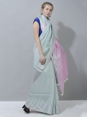 Magical Grey and pink linen saree with silver border