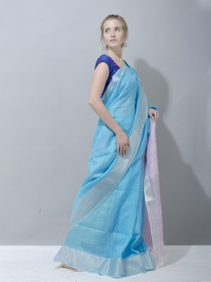 Cool blue and baby pink linen saree