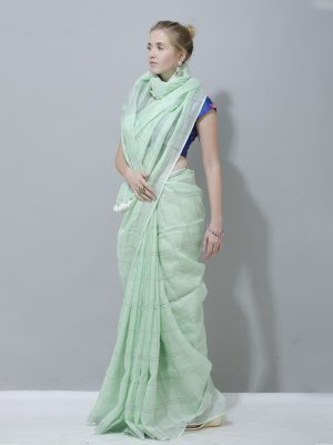 Eco friendly light green check linen saree