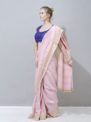 Blush pink with gold border linen saree