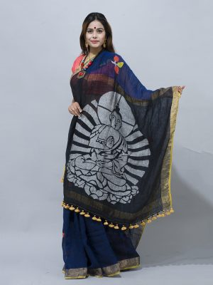 traditional black buddha woven pallu linen saree