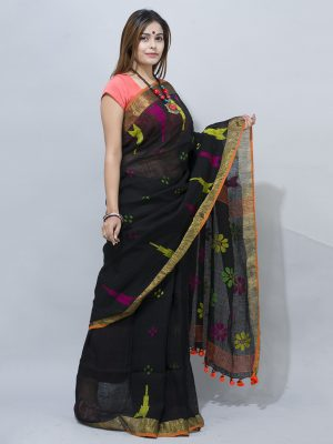 gorgeous black Handwoven flower  woven pallu  in linen saree