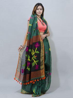 soothing green linen lata  jamdani pallu saree