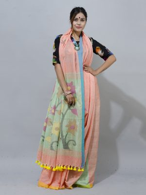 peach colour with floral jamdani pallu saree
