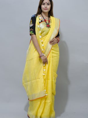 sunshine yellow with silver border linen saree