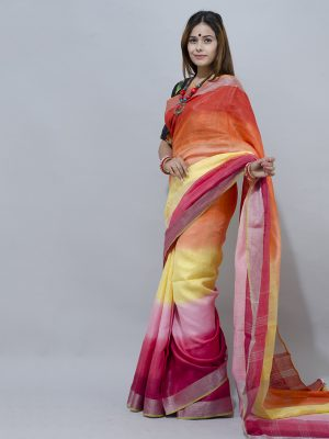 Lovely and vibrant multicolour linen saree