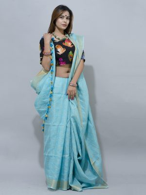 Stunning sky blue linen Saree  with silver border
