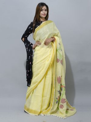 sunshine yellow linen jamdani pallu saree