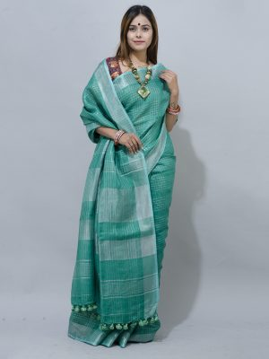 smart checks and a silver zari border linen saree