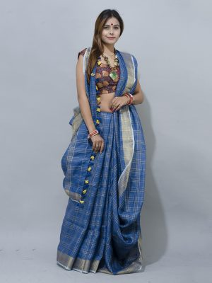 blue checkered pattern with grey zari border linen saree