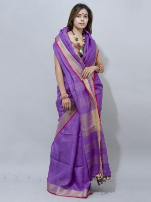 magical  Purple  with gold zari red piping Linen saree along with border