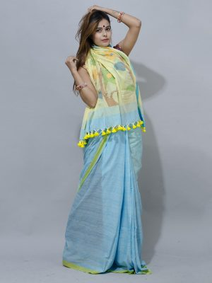 Oceanic Blue  saree  with woven yellow floral jamdani pallu