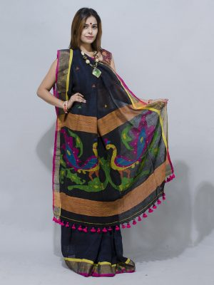 royal black linen saree