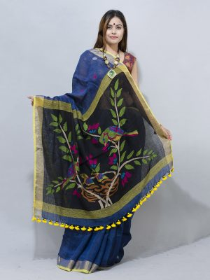 nature  blue nestle woven pallu linen saree