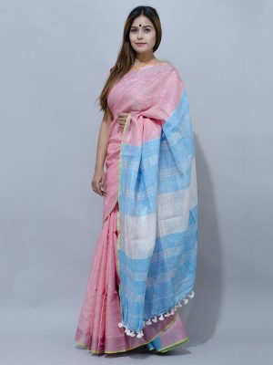 sophisticated pink with sky blue pallu unique combination linen saree