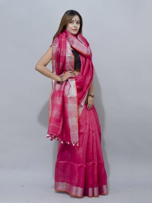 bold and beautiful red linen with silver border saree