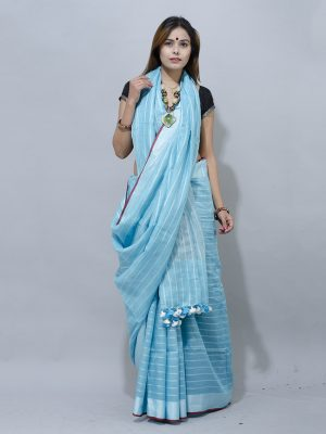 sky blue with white stipes linen saree