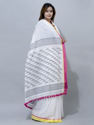 pure white jamdani with red hot pink and yellow ganga jamuna border saree