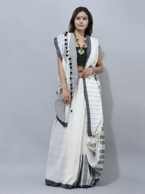 white handloom Piano Design  along border cotton saree
