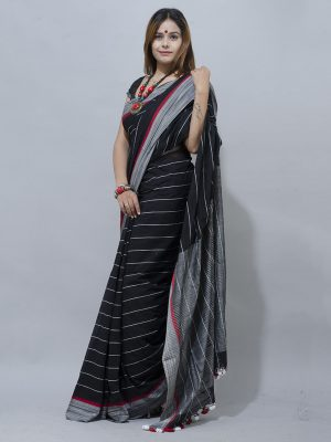 grey and black checks handwoven khadi  saree