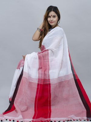 white middle jhapvirgin white with bold red par khadi cotton saree