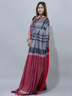 black and maroon check gamcha saree