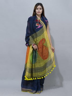 colourful  mango wowen pallu dark blue linen saree associated with depth, expertise, and stability.