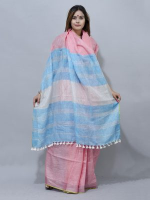 peach and blue lovely combination linen saree