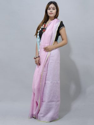 blush pink and sky blue linene saree