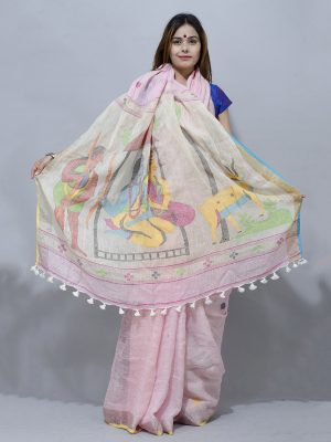 mythological linen saree