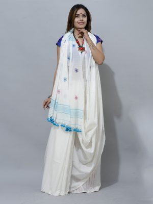 white jhap sky blue Lovely Combination of  pure white with sky blue patern cotton saree